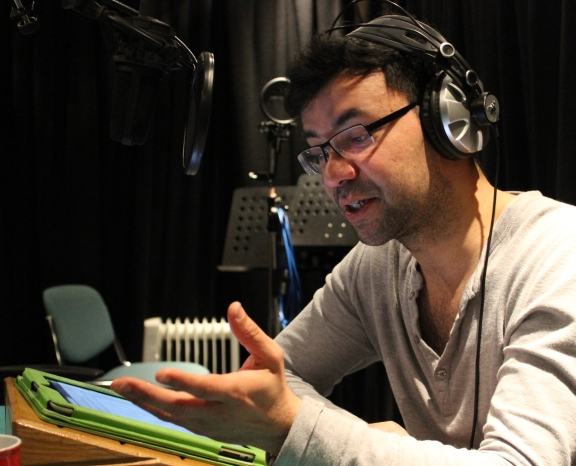 Jamie Zubairi reading for Dark Shadows - The Darkest Shadow. Photo by Joseph Lidster ©Big Finish Productions